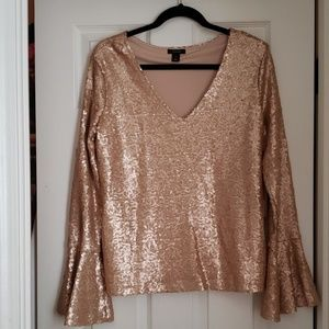 HALOGEN sequin long sleeve top soft pale pink colo